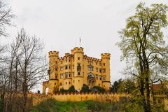 Hohenschwangau. Castel in the Bavarian alps with the sky as copy space Stock Photography