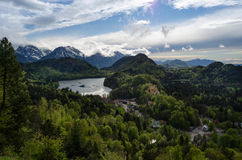 Hohenschwangau and the lake Stock Image
