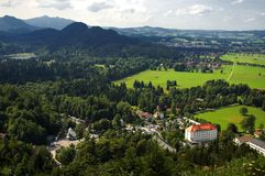 Hohenschwangau panorama. View from Castle Neuschwanstein in Germany Royalty Free Stock Photos