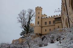Hohenschwangau slott i vintertid germany Arkivfoto