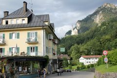 Hohenschwangau streets. View of the Hohenschwangau village in Bavaria, Germany Stock Image