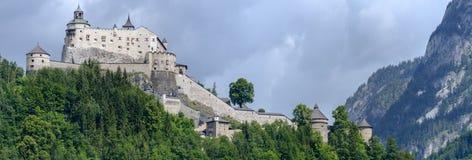 Hohenwerfen城堡和堡垒Werfen的奥地利的 图库摄影