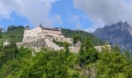 Hohenwerfen城堡和堡垒Werfen的奥地利的 库存照片