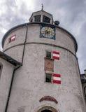 Hohenwerfen城堡或Festung俯视萨尔察赫河谷的Hohenwerfen奥地利Werfen镇在萨尔茨堡,奥地利附近 免版税库存图片