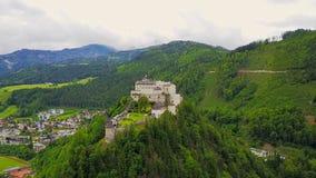 Hohenwerfen Castle aerial, Austria stock video footage