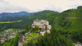 Hohenwerfen Castle aerial, Austria stock video