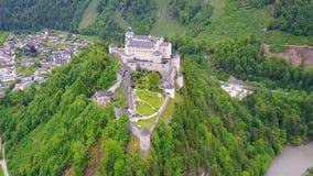 Hohenwerfen Castle aerial, Austria stock footage