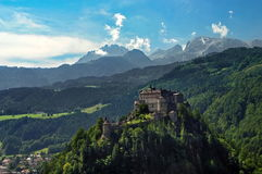 Mountain landscape. Hohenwerfen Castle - Berchtesgaden Alps mountains - landmark attraction in Werfen, Austria Royalty Free Stock Photos