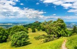 Hohenzollern城堡在德国的兹瓦本地方阿尔卑斯-巴登-符腾堡州,德国 库存图片