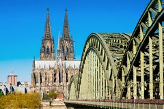 Hohenzollern Bridge and Cologne Cathedral. The Hohenzollern Bridge and the Cologne Cathedral in Cologne, Germany Royalty Free Stock Images
