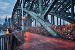 Hohenzollern Bridge in Cologne, Germany. Night view Royalty Free Stock Images