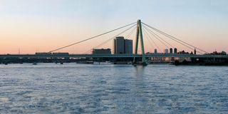 Hohenzollern Bridge at sunset in Cologne, Germany royalty free stock photo