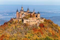Hohenzollern Castle at autumn royalty free stock photos