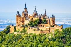 Hohenzollern Castle close-up, Germany. This fairytale castle is famous landmark near Stuttgart