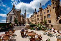 Hohenzollern Castle, Germany - June 24, 2017: Hohenzollern Castl. E German: About this sound Burg Hohenzollern is the ancestral seat of the imperial House of Royalty Free Stock Photo