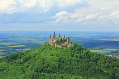 Hohenzollern Castle, Germany. View from the top of Zeller Horn to Hohenzollern Castle in the Swabian Alb, Baden-Wuerttemberg, Germany Stock Photos