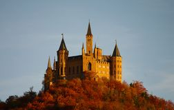 Hohenzollern castle in Swabian during autumn Stock Photos