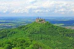 Hohenzollern Castle. View from the top of Zeller Horn to Hohenzollern Castle in the Swabian Alb, Baden-Wuerttemberg, Germany Royalty Free Stock Image