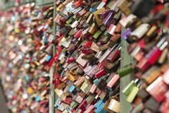 Hohenzollern railway Bridge in Cologne or famous Cologne`s Love Locks Bridge with thousands padlocks left by lovers. Stock Images