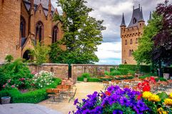 Hohenzollernkasteel Burg Hohenzollern bij het swabian gebied van baden-Wurttemberg stock afbeelding