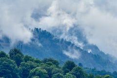 Hoher Berg mit den grünen Steigungen versteckt in den Wolken und im Nebel stockbilder
