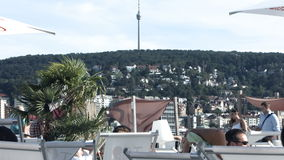 Hoher Bopser Hill and Stuttgart Tv Tower from Sky Beach 2 stock footage