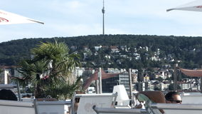 Hoher Bopser Hill and Stuttgart Tv Tower from Sky Beach stock video footage