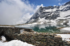 Hoher Gebirgslandschaft mit See und Schnee Lizenzfreies Stockfoto