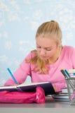 Hoher Schüler mit Hausarbeit Stockfoto