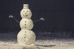 Hoher Schneemann nachts Winter im Park draußen Stockbilder