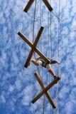 Hoher Seilherausforderungskurs stockbild