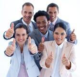 Hoher Winkel des multiethnischen Geschäftsteams Lizenzfreie Stockfotos