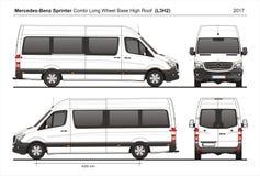 Hohes Dach-Passagiervan L3H2 2017 Mercedes Sprinters LWB stock abbildung