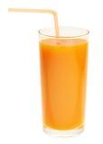 Hohes Glas voll des orange Karottensaftes Lizenzfreie Stockfotografie