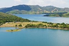 Hohes Insel-Reservoir und Hong Kong Global Geo Park von China in Hong Kong, China stockbild