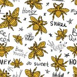 Hohey bee golden embroidery seamless pattern textile fabrics orn. Hohey bee golden embroidery seamless pattern queen crown textile fabrics ornamented golden vector illustration