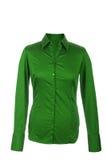 Hohle grüne Bluse mit den langen Hülsen, lokalisiert auf weißem backgro Lizenzfreie Stockfotos