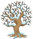 Hohler Baum mit Schnee Lizenzfreies Stockbild