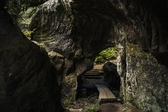 Hohllay Cave Berdorf. Hohllay Cave in the forest of Berdorf in Luxembourg Royalty Free Stock Images