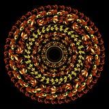 Hohloma czerwieni tradycyjny round wzór na czerni Wektorowy illustr Zdjęcia Stock