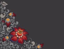 Hohloma dark pattern. Khokhloma fairy ornament on a dark background with little scarlet flower Royalty Free Stock Photo