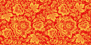 Free Hohloma In Red And Gold Colors Seamless Pattern Stock Photo - 88942250