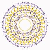 Hohloma koloru żółtego round błękitny wzór na bielu Wektorowy Illustratio Obraz Royalty Free