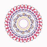 Hohloma koloru żółtego round czerwony wzór na bielu również zwrócić corel ilustracji wektora Zdjęcia Stock