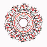 Hohloma round red black pattern on a white. vector illustration Royalty Free Stock Image
