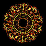 Hohloma rund modell på en svart också vektor för coreldrawillustration Arkivbild