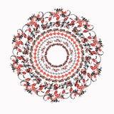 Hohloma rund röd svart modell på en vit också vektor för coreldrawillustration Royaltyfri Bild