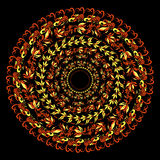 Hohloma traditional round red pattern on a black. vector illustr Stock Photos