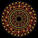 Hohloma traditional round red yellow pattern on a black. vector Stock Image