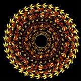 Hohloma traditionell rund modell på en svart Vektor Illustratio Arkivbilder